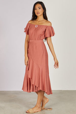 Luna Midi Dress Rose