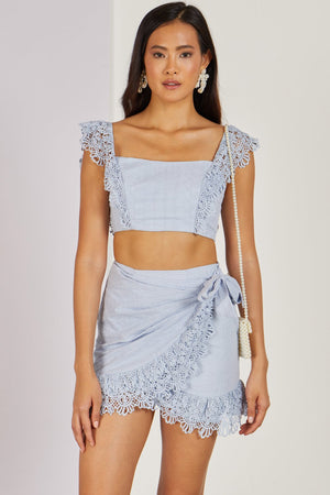 Mykonos Top & Skirt Co-ord Set Sky Blue