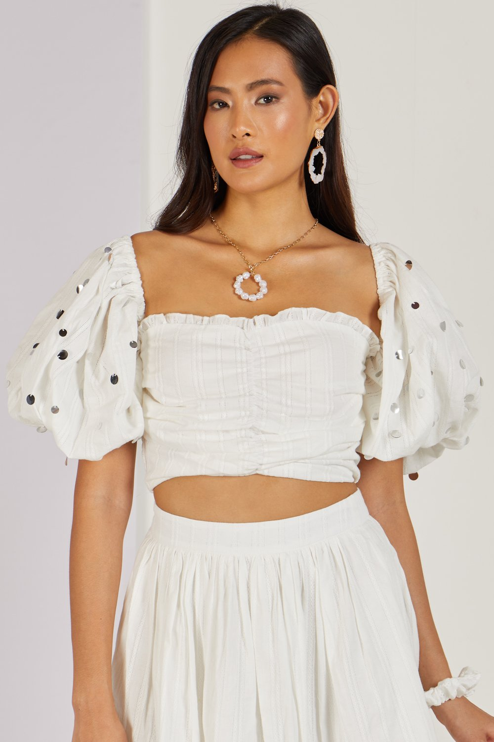 Whimsical Love Crop Top White Co-ord