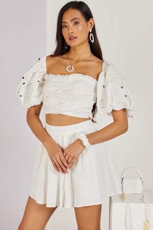 Whimsical Love Mini Skirt White Co-ord
