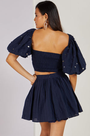 Whimsical Love Crop Top Navy Co-ord