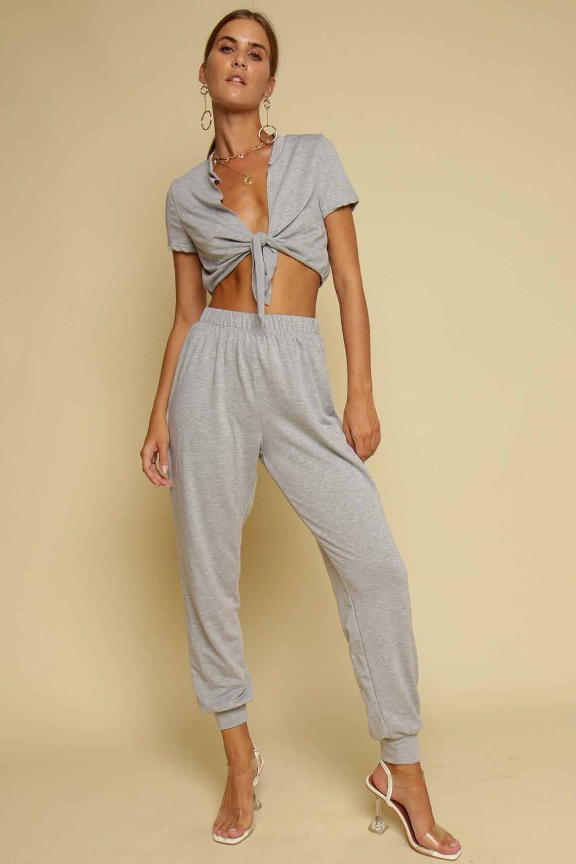 Casual Mondays Tie Front Top & Pants Co-ord Grey