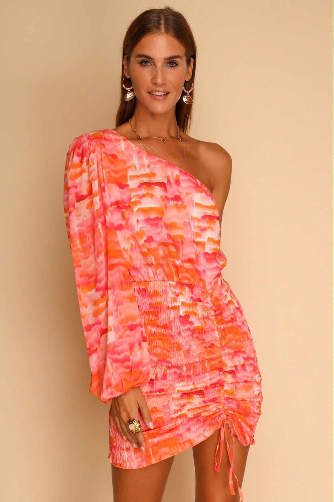 Cafe Mambo One Shoulder Mini Dress Sunset