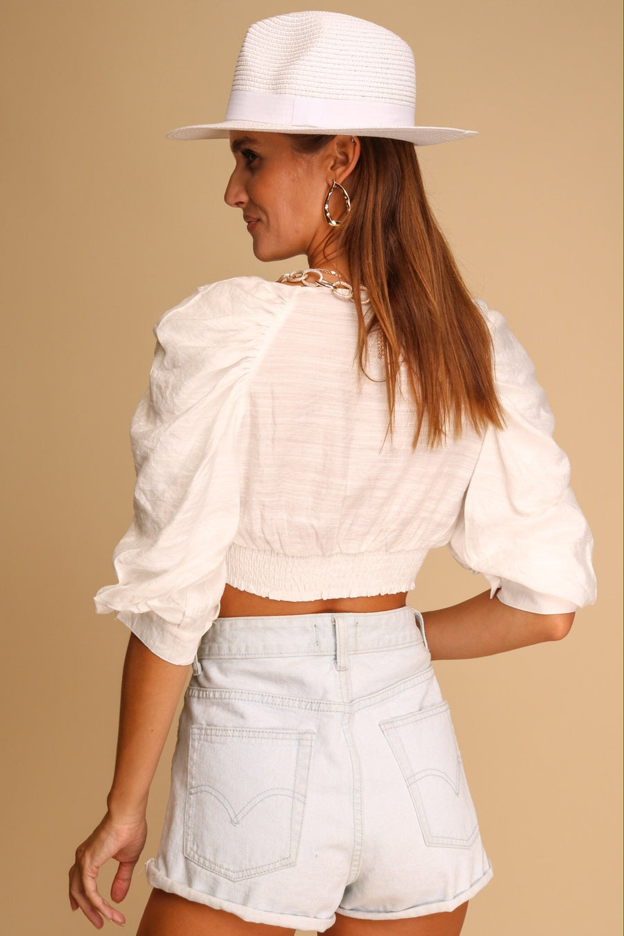 Soda Button Crop Top White