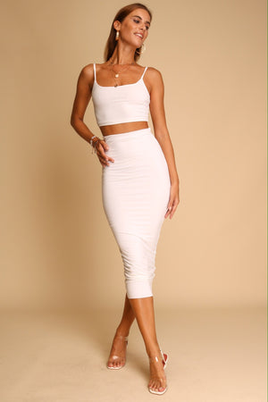 Aimee Top & Midi Skirt Co-ord White