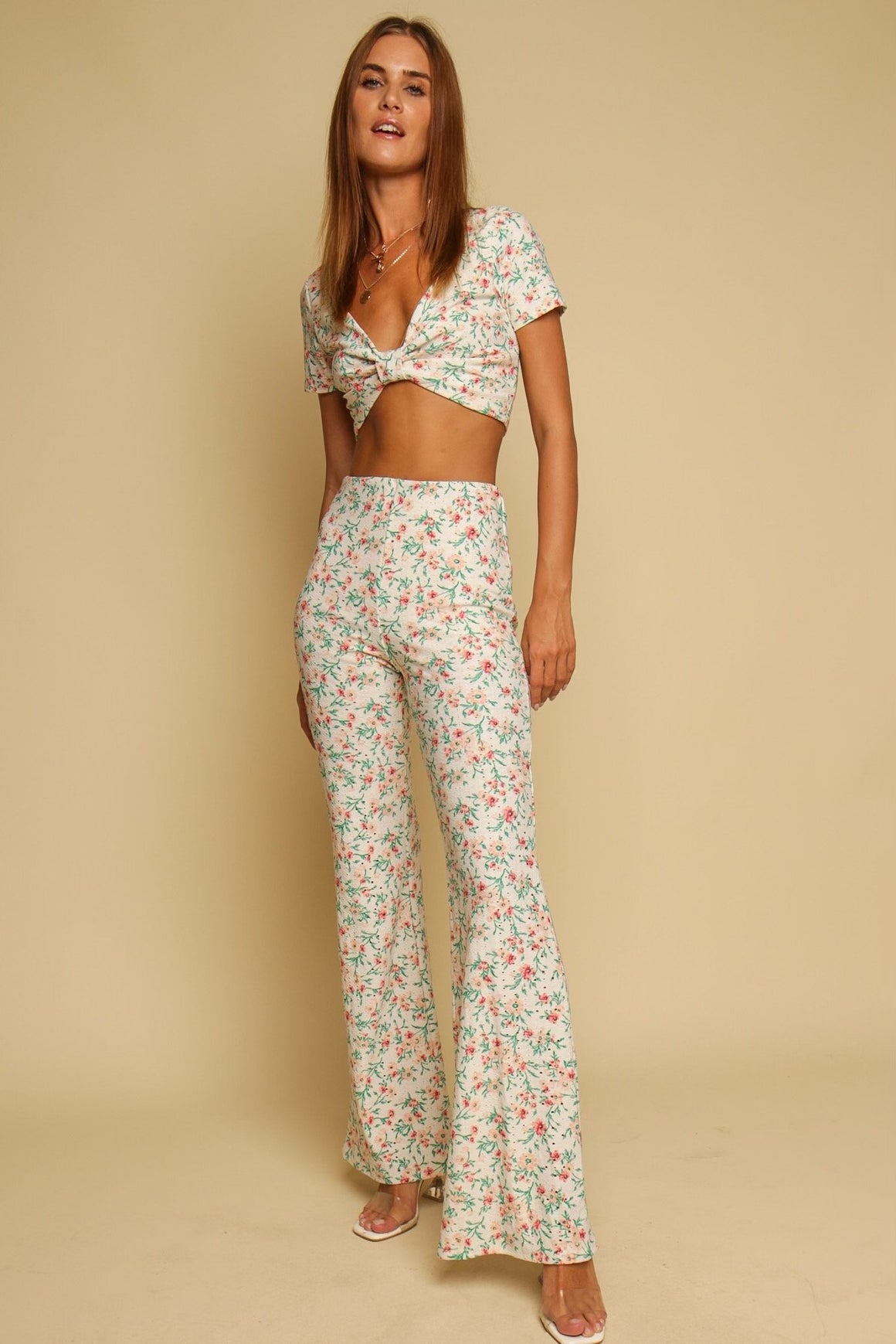 Amalfi Coast Floral Top & Pant Co-ord Set White
