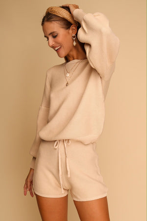 Take Me Anywhere Knitted Co-ord Set Beige