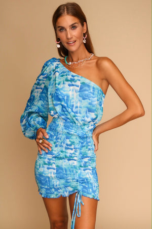 Cafe Mambo One Shoulder Mini Dress Ocean