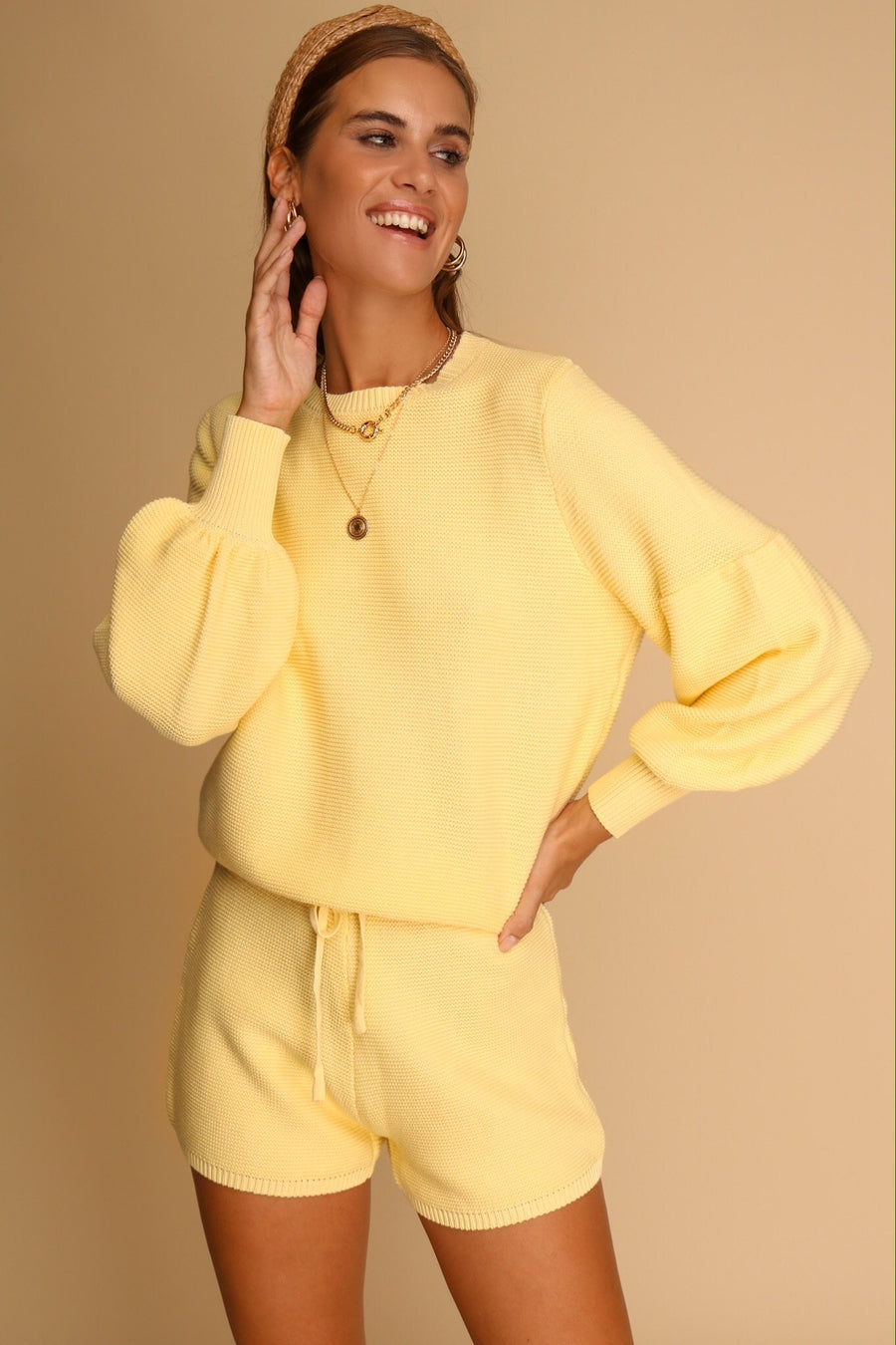Take Me Anywhere Knitted Co-ord Set Lemon