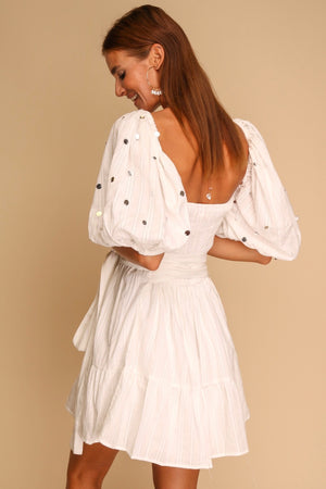 Lucky Penny Puff Sleeve Mini Dress White