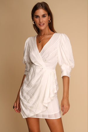 Brianna Drape White Dress