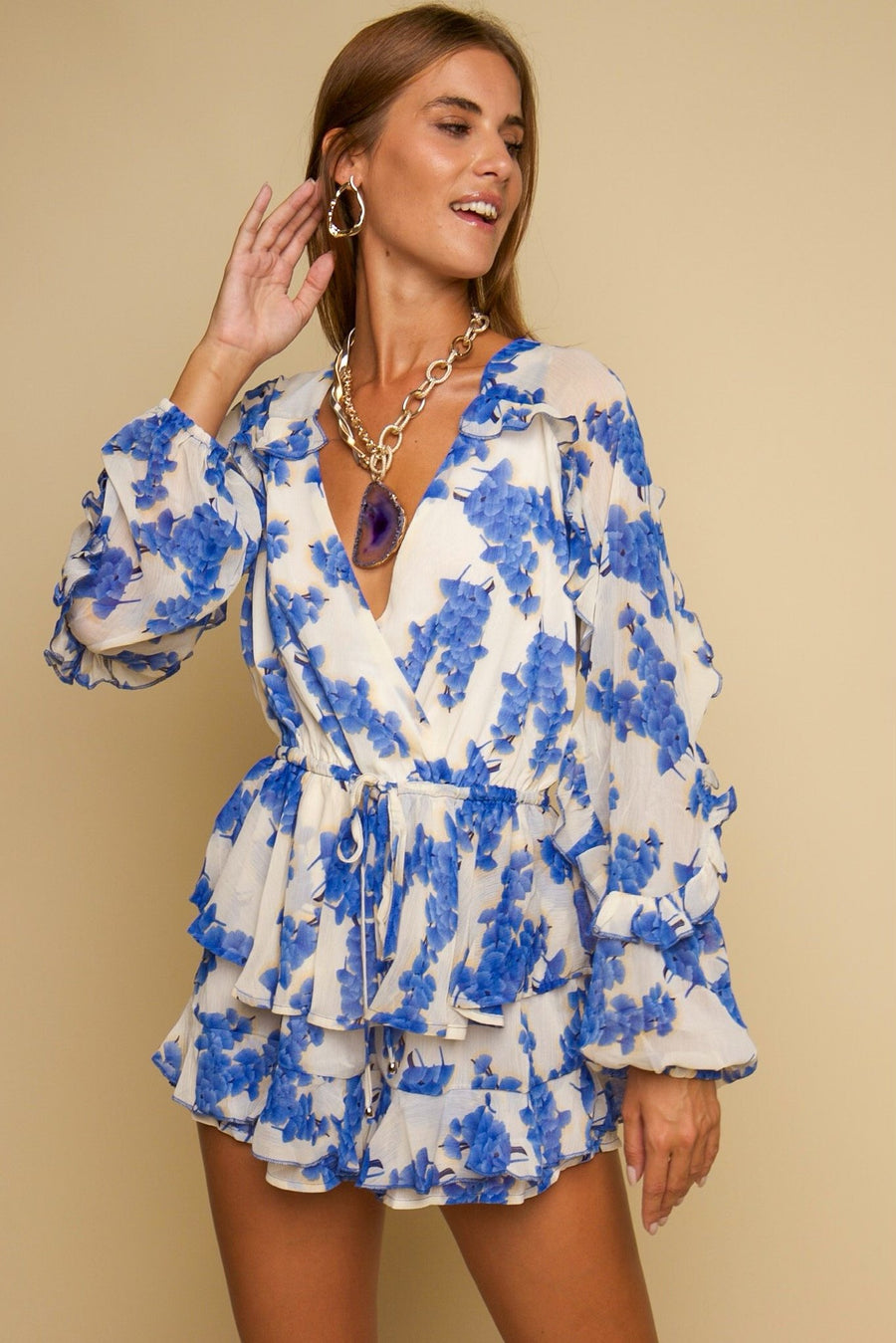 Forget Me Not Floral Playsuit Blue