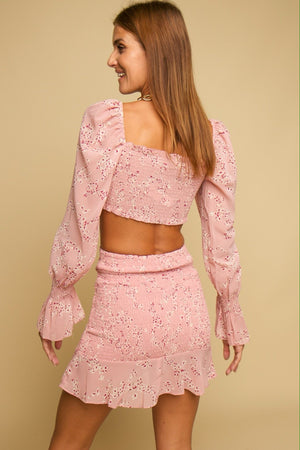Abelia Floral Top & Skirt Co-ord Blush
