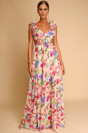 Paro Floral Ruffle Maxi Dress Multi
