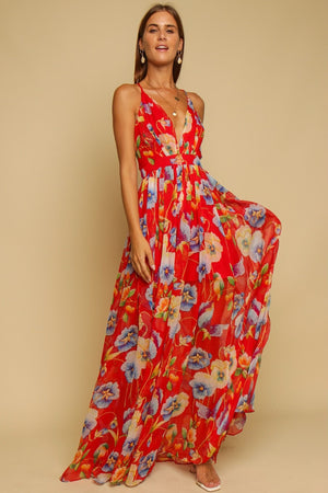 Wish You Were Here Floral Maxi Dress Red