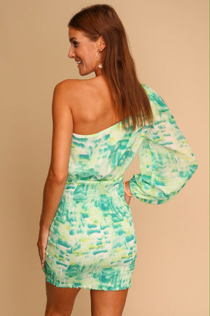 Cafe Mambo One Shoulder Mini Dress Green