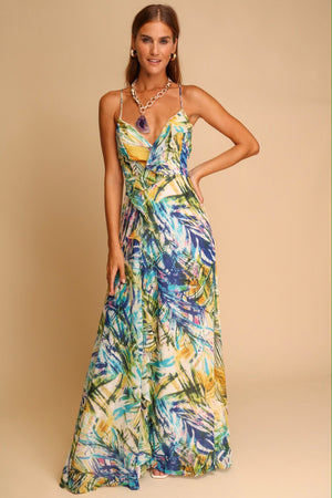 Majorca Palm Leaves Ruffle Front Maxi Dress