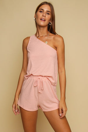 Two Of A Kind One Shoulder Top & Shorts Co-ord Blush