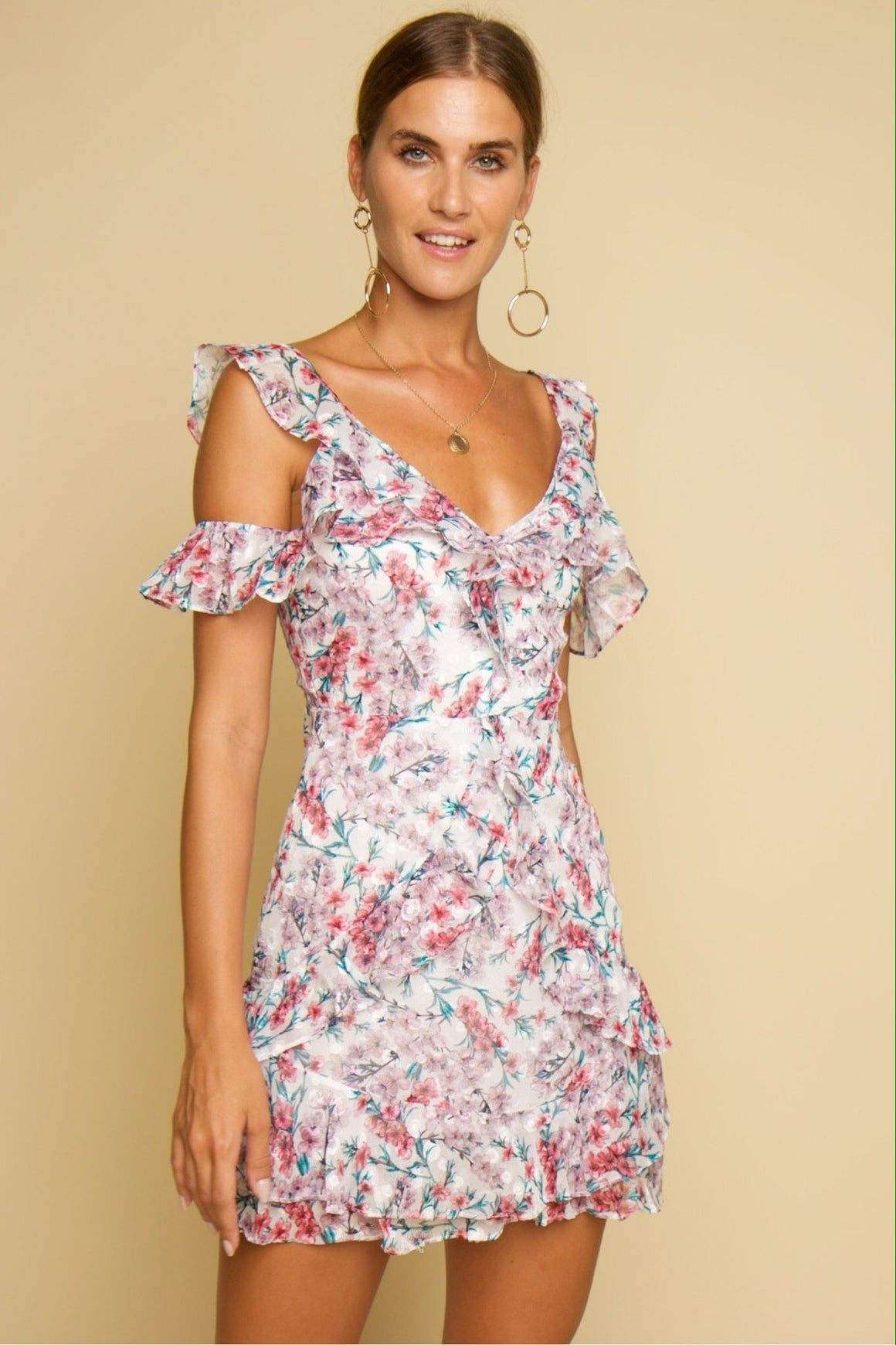 Lotus Floral Playsuit Pink