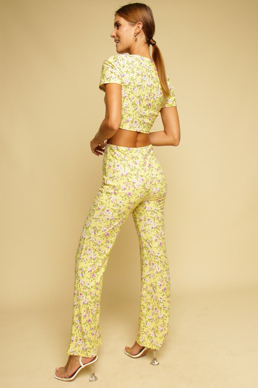 Amalfi Coast Floral Top & Pant Co-ord Set Lemon