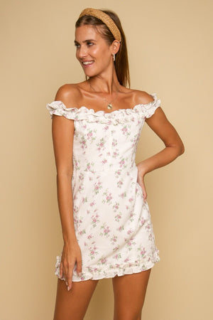 Toulouse Floral Mini Dress White