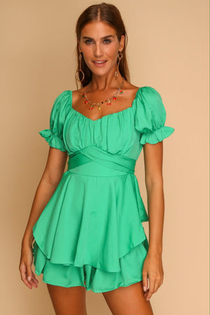 Lisbon Lane Playsuit Green
