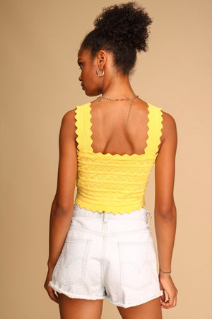 Melody Knitted Crop Top Yellow