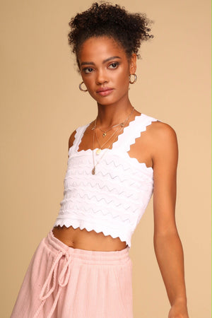 Melody Knitted Crop Top White