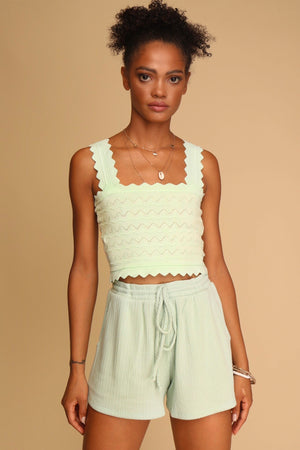 Melody Knitted Crop Top Green