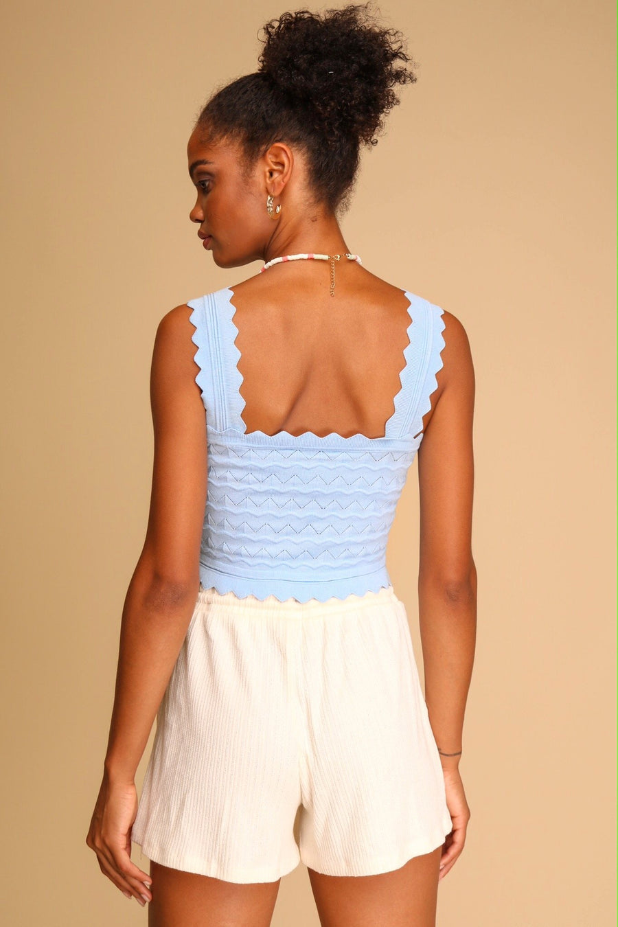 Melody Knitted Crop Top Blue