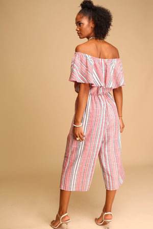 Exploring Prague Jumpsuit Red Stripe