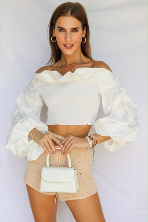 Just Us Two Off Shoulder Crop White