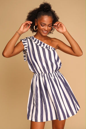 Jump For Joy One Shoulder Mini Dress Navy