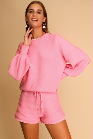 Take Me Anywhere Knitted Co-ord Set Pink