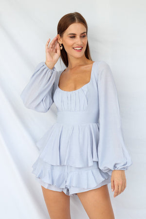 Kayleigh Ruffle Layered Playsuit Grey