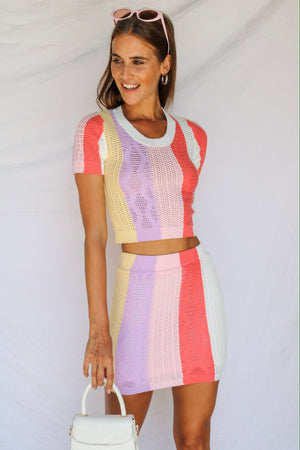 Santa Monica Pastel Knitted Top & Skirt Co-ord