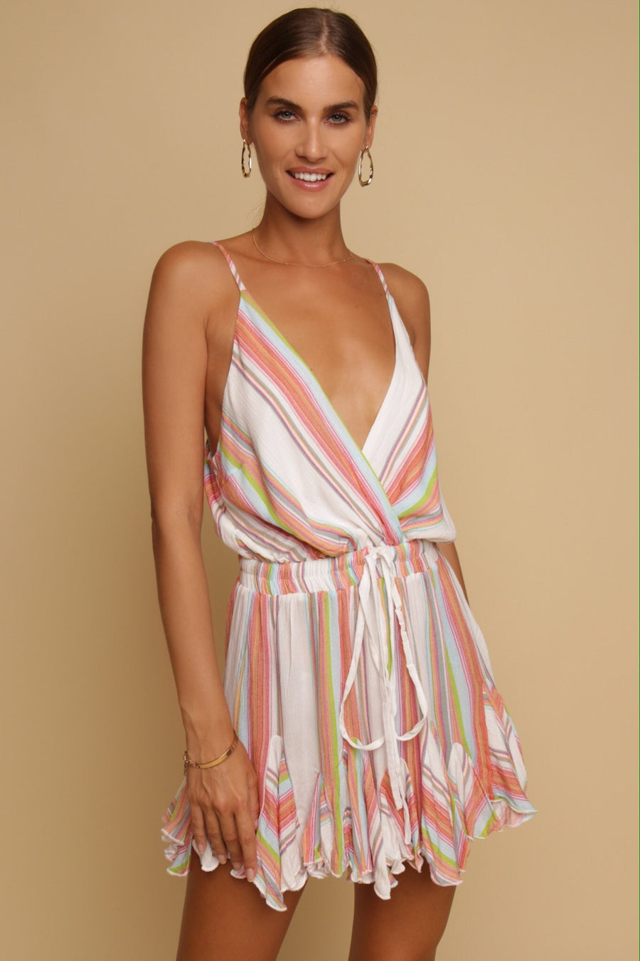 Made Me Blush Stripe Playsuit Multi