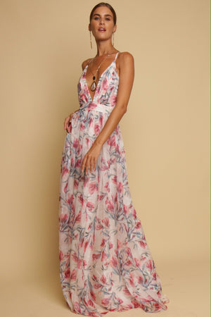 Walking On Sunshine Floral Maxi Dress White