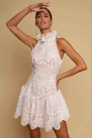 Keep On Dreaming High Neck Lace Mini Dress White