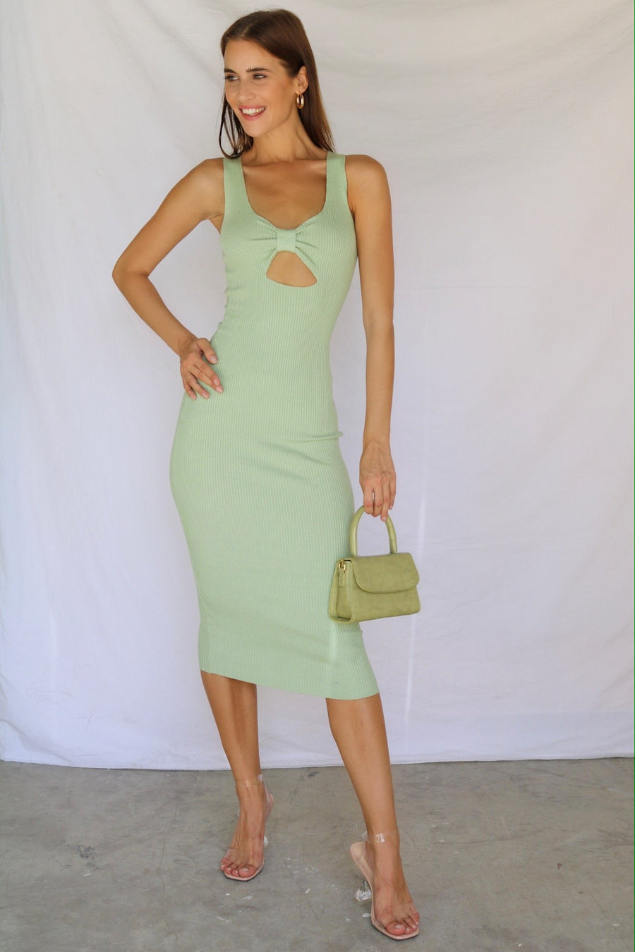 New Jersey Ribbed Midi Dress Sage