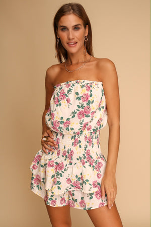 Petunia Floral Playsuit Off White