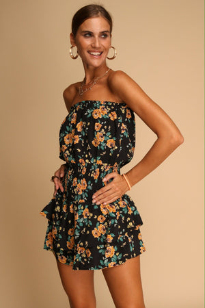 Petunia Floral Playsuit Black