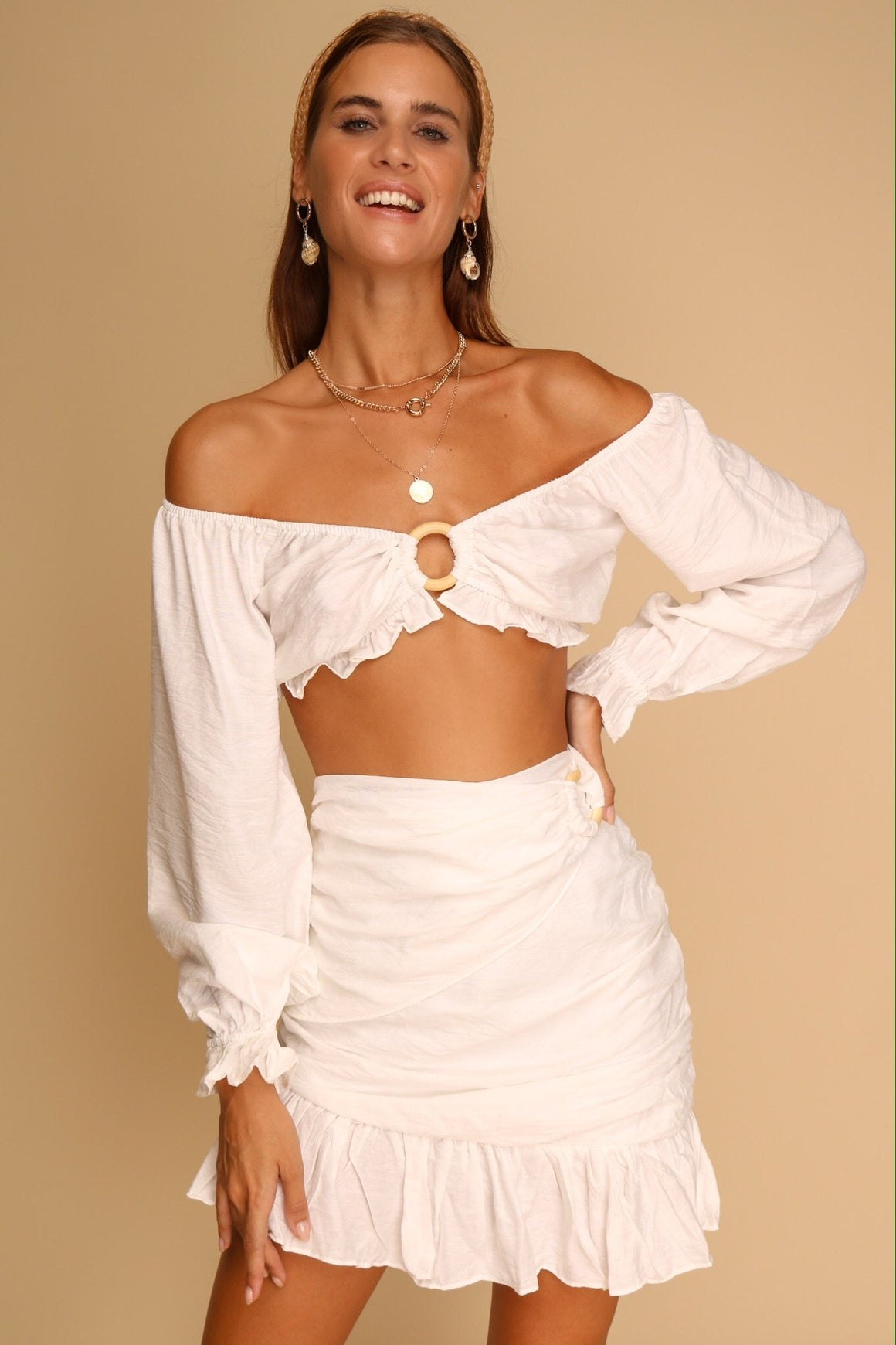 Athena Top & Skirt Co-ord White