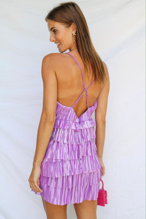 Make A Move Crinkle Mini Dress Lilac