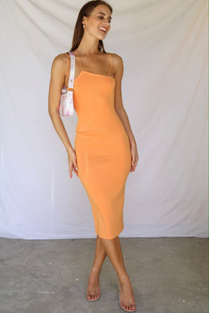 Never Looked Better Knitted Midi Dress Orange