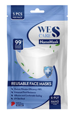 6Ply Wes-Cares NanoMask reusable - Pack of 5