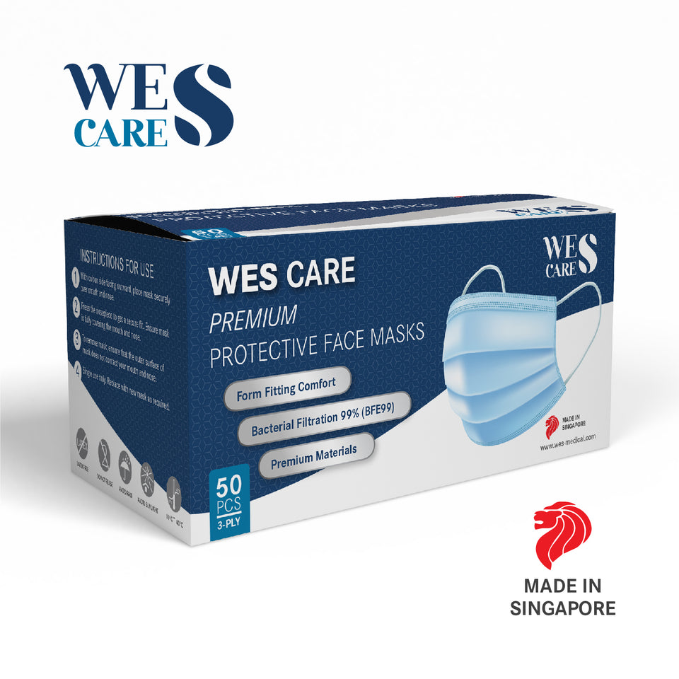 3Ply Premium Protective White Face Masks - Box of 100