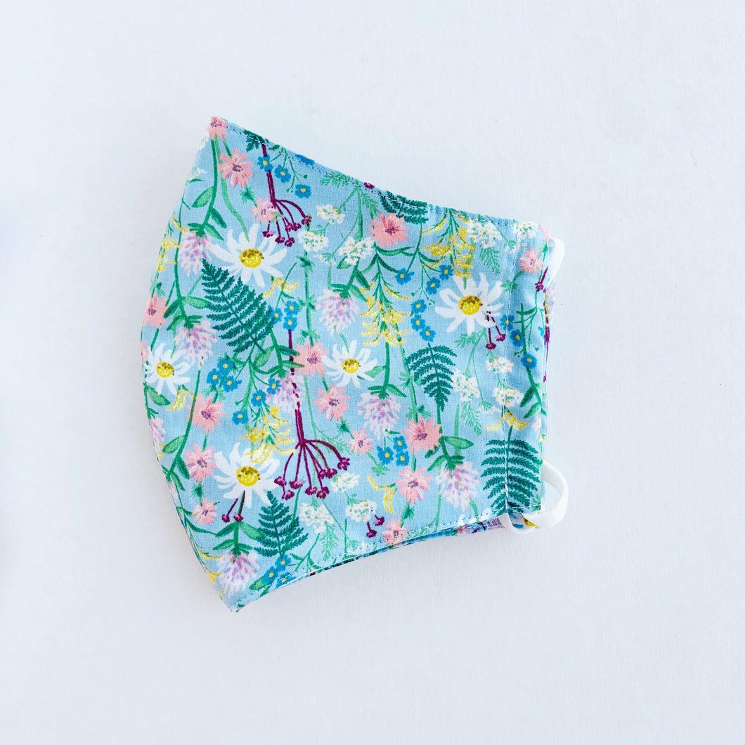 Japan Cotton Child Mask - Wildflowers Blue | Made in Singapore