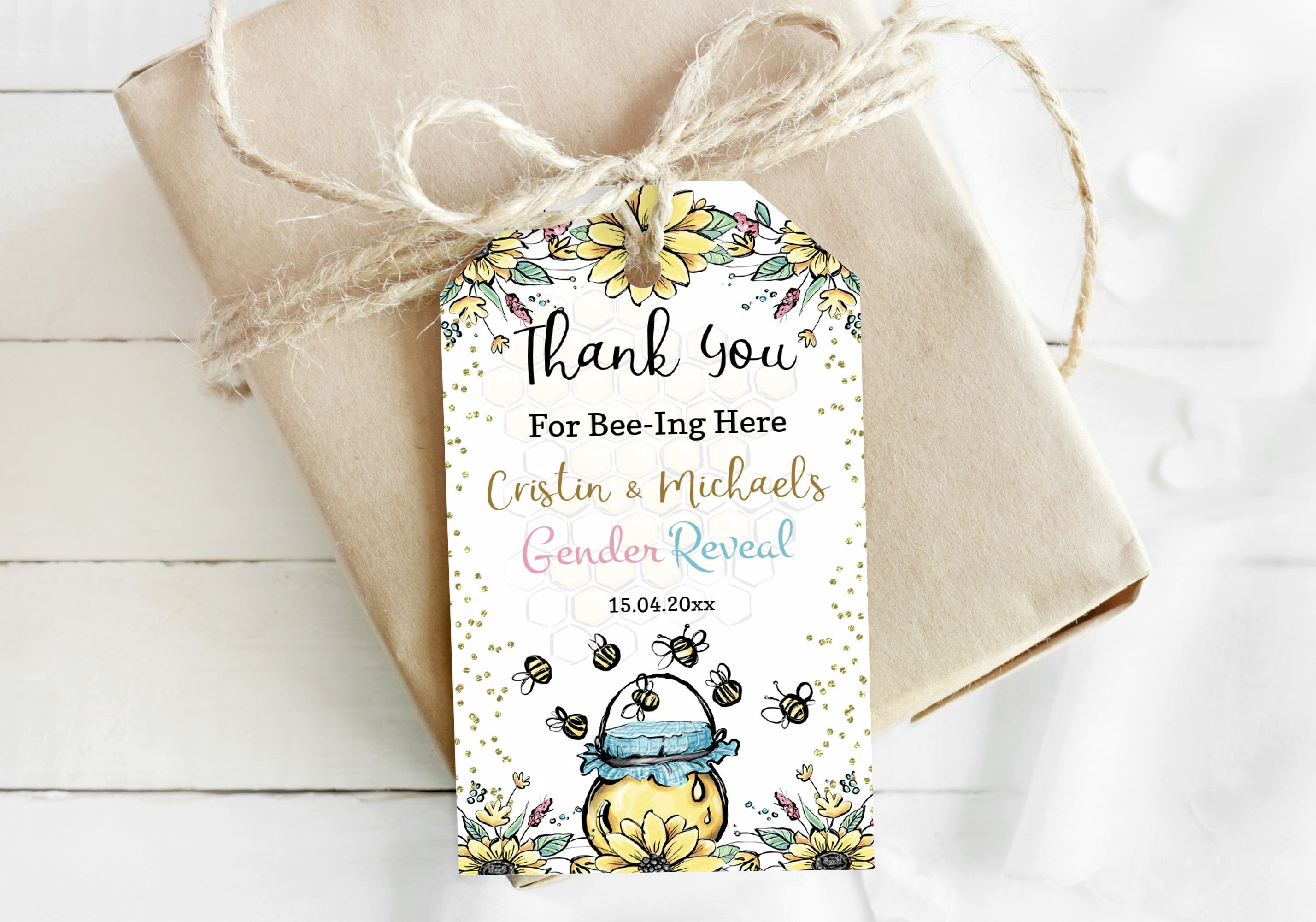 Editable Bee Thank You Tags | Honeycomb Gender Reveal Favor Tags - 61A