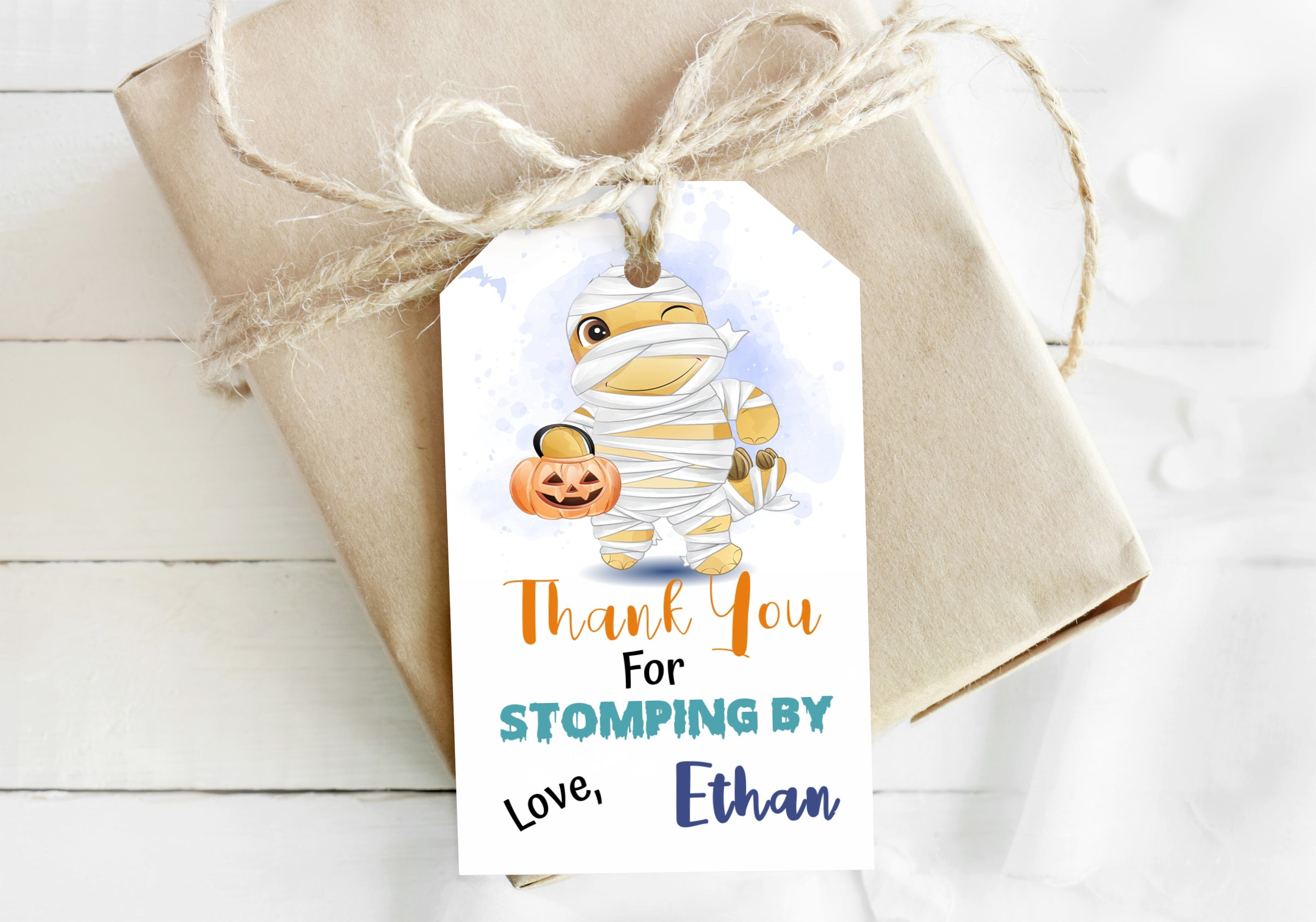 Editable Halloween Dino Mummy Thank You Tags | Dinosaur Theme Party - 115F